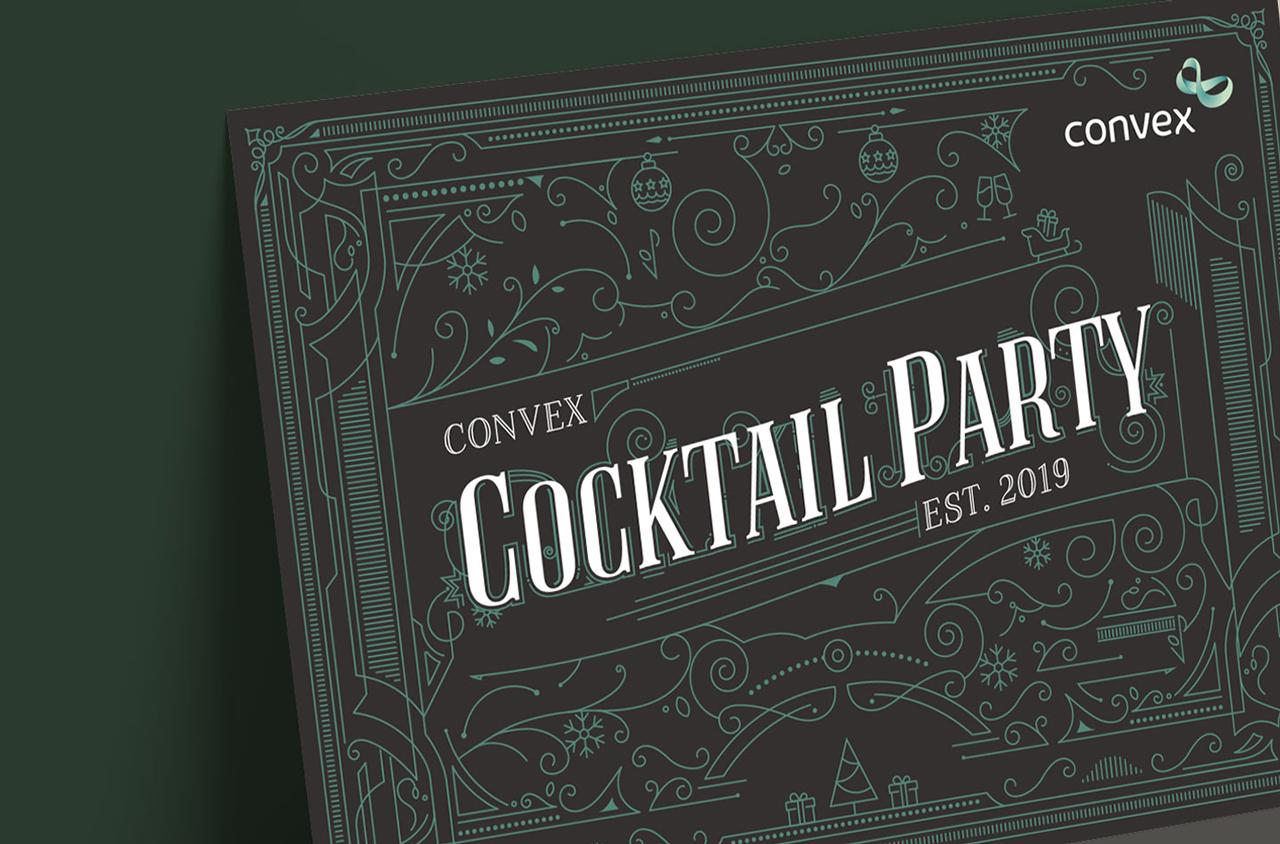 Glendale Creative Convex Speakeasy Christmas Cocktail Party Invite Design