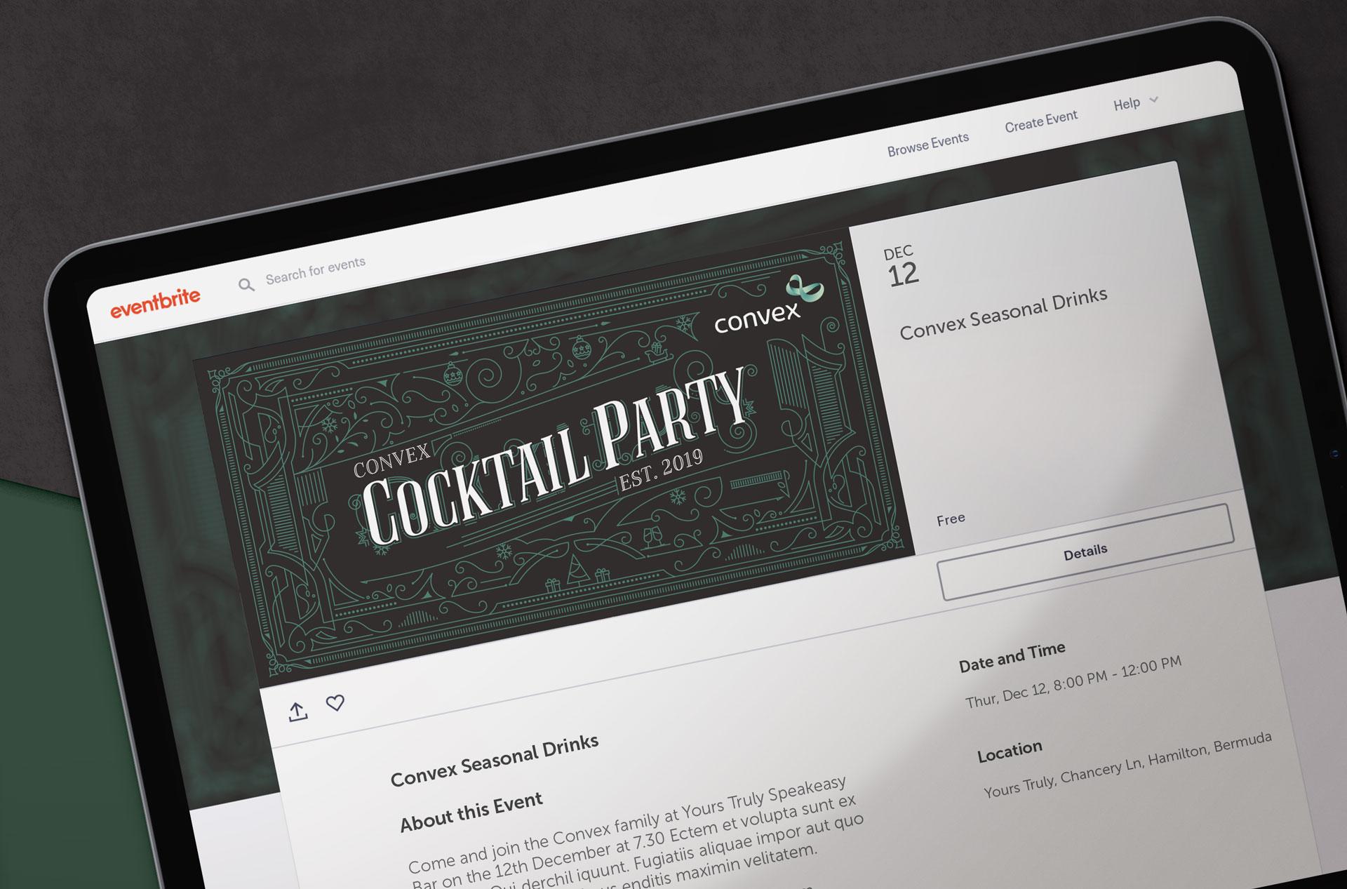 Glendale Creative Convex Speakeasy Cocktail Party Invite Design