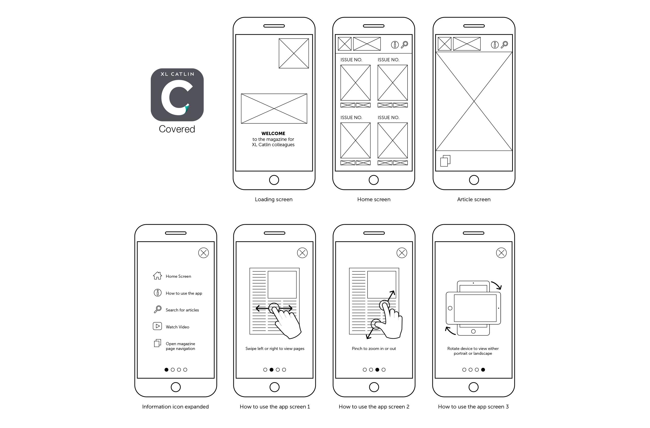 Glendale Creative XL Catlin App Wireframe