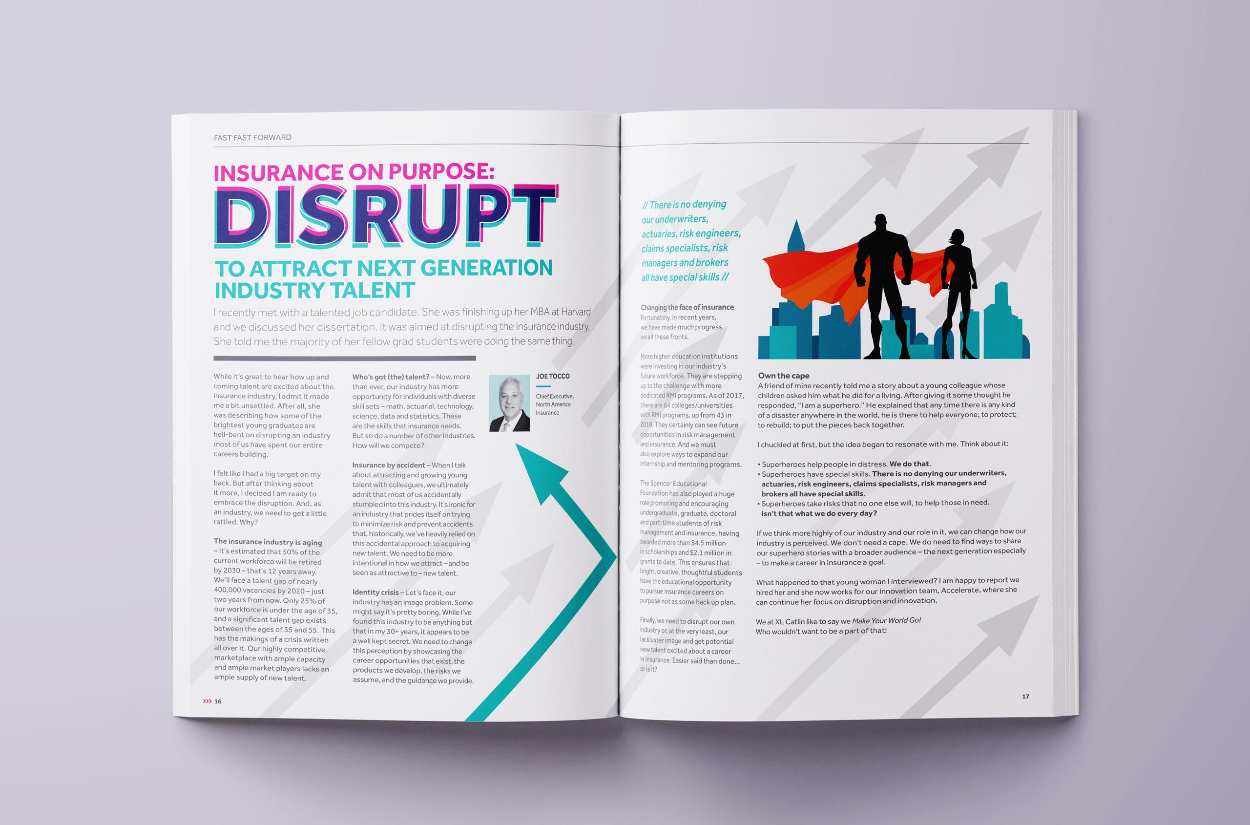 Glendale Creative XL Catlin Magazine Spread Design